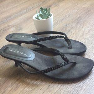 Strappy black low heels